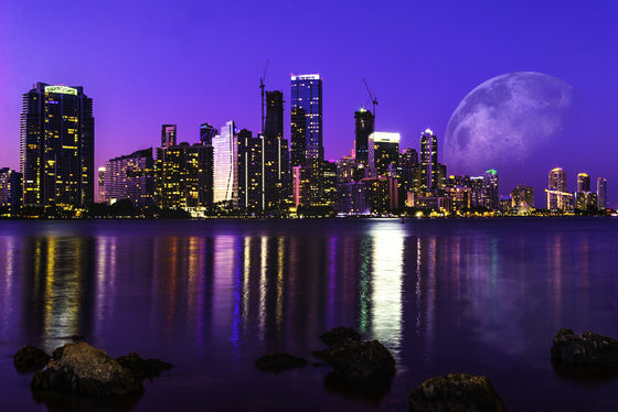Miami skyline with the moon just for fun!