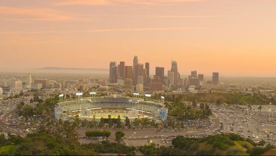 Dodgers Stadium with Downtown LA