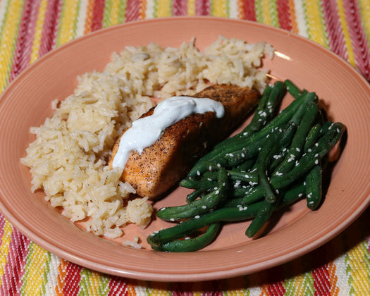 Grilled Wasabi Salmon with Green Beans