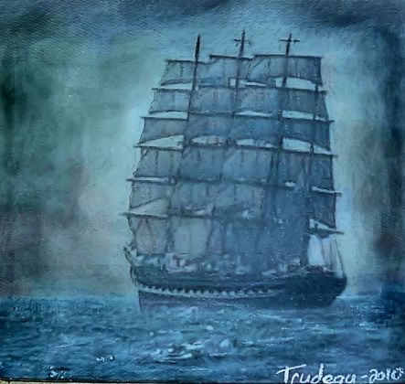 A Tall Ship - Watercolor Painting by Tommi Trudeau.