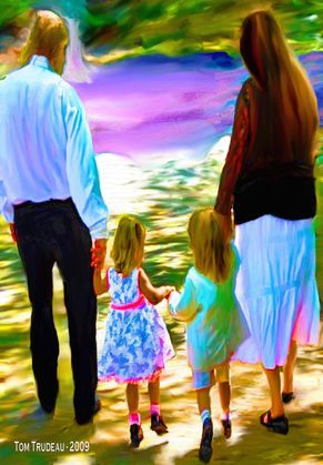 Family Stroll - Oil Painting by Tommi Trudeau.