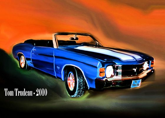 71' Chevy Chevelle Convertible - Oil Painting by Tommi Trudeau.