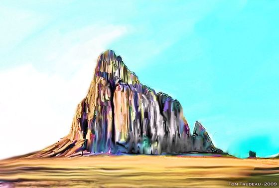 Shiprock - Oil Painting by Tommi Trudeau.