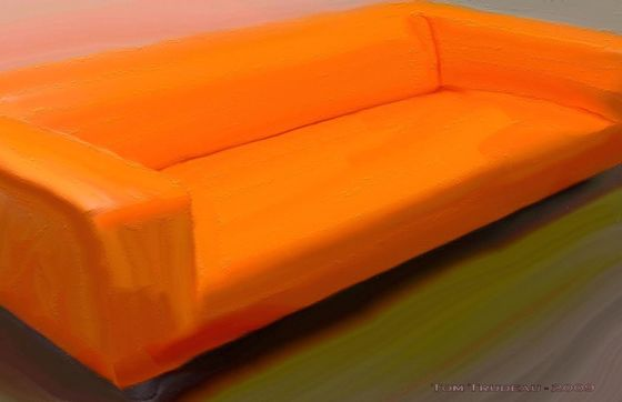 The Magical Orange Couch - Oil Painting by Tommi Trudeau.