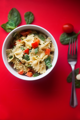 Pesto Pasta Salad with Sun Dried Tomatoes & Spinach